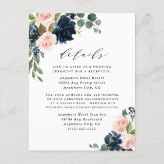 Navy Blue and Blush Pink Floral Country Wedding Enclosure Card