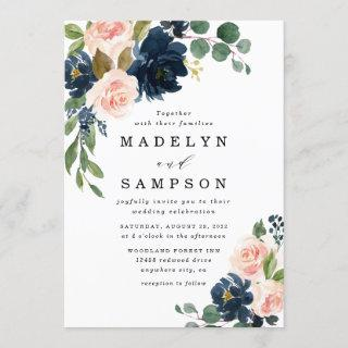 Navy Blue and Blush Pink Floral Country Wedding Invitations