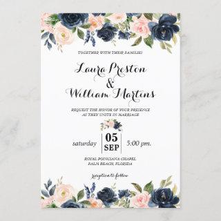 Navy Blue and Blush Pink Floral Watercolor Wedding