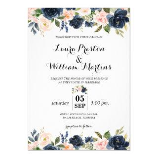 Navy Blue and Blush Pink Floral Watercolor Wedding Invitations