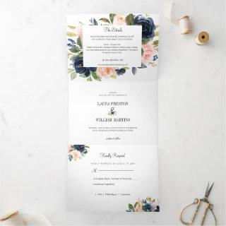 Navy Blue and Blush Pink Floral Wedding Photo Tri-Fold Invitations