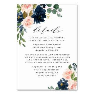 Navy Blue and Blush Pink Wedding Enclosure Cards