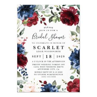 Navy Blue and Burgundy Blush Pink Bridal Shower Invitations
