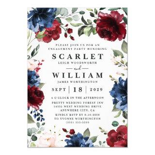 Navy Blue and Burgundy Blush Pink Engagement Party Invitations
