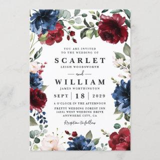 Navy Blue and Burgundy Blush Pink Floral Wedding Invitation