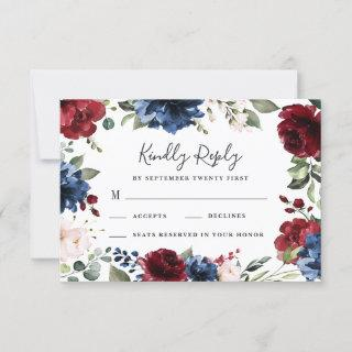Navy Blue and Burgundy Blush Pink Floral Wedding RSVP Card