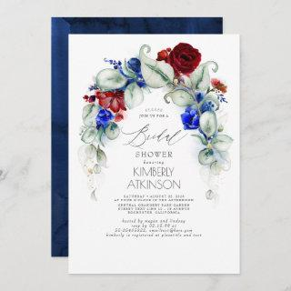 Navy Blue and Burgundy Red Floral Bridal Shower Invitations