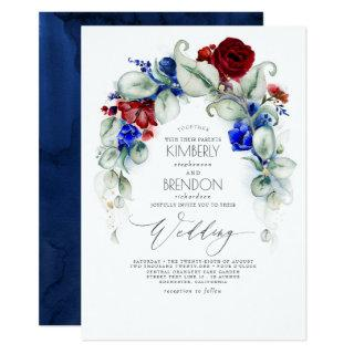 Navy Blue and Burgundy Red Flowers Elegant Wedding Invitations