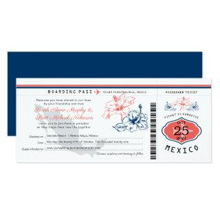 Navy Blue and Coral Mexico Boarding Pass Wedding Invitations