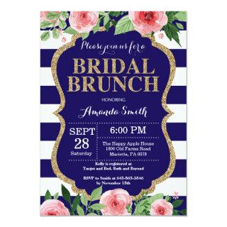 Navy Blue and Gold Bridal Brunch Invitations Floral