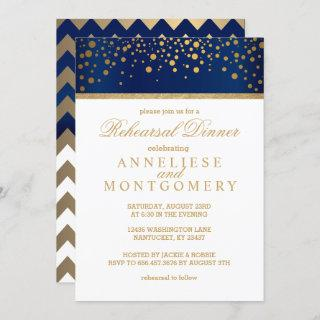 Navy Blue and Gold Confetti Dot - Rehearsal Dinner Invitation