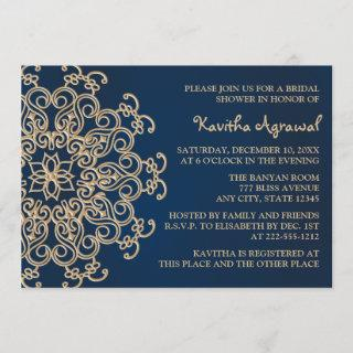 Navy Blue and Gold Indian Style Bridal Shower Invitations