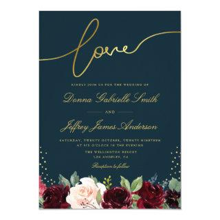 Navy blue and gold script burgundy floral wedding Invitations