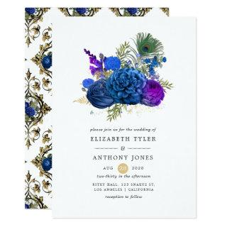 Navy Blue and Gold Vintage Peacock Floral Wedding Invitations