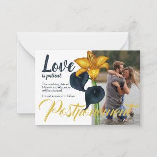 Navy Blue and Gold Wedding Postponement Advice Card