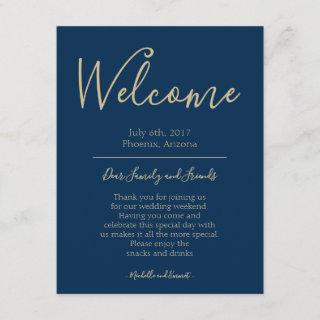 Navy Blue and Gold Wedding Welcome Itinerary Note Enclosure Card
