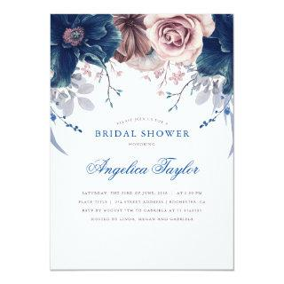 Navy Blue and Mauve Floral Bridal Shower Invitations