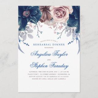 Navy Blue and Mauve Floral Rehearsal Dinner Invitations