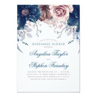 Navy Blue and Mauve Floral Rehearsal Dinner Invitation