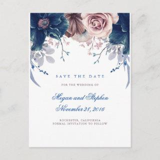 Navy Blue and Mauve Floral Save the Date Announcement Postcard