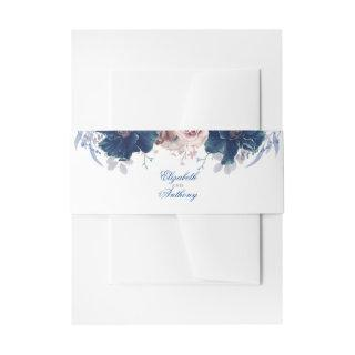 Navy Blue and Mauve Florals Invitations Belly Band