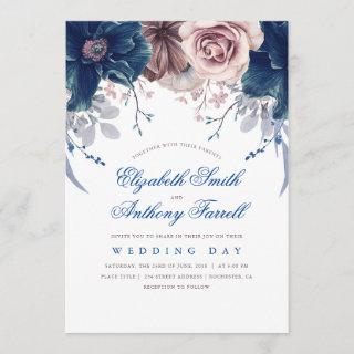 Navy Blue and Mauve Watercolor Floral Wedding Invitation