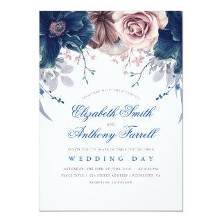 Navy Blue and Mauve Watercolor Floral Wedding Invitations