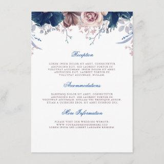 Navy Blue and Mauve Wedding Information Guest Enclosure Card