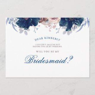 Navy Blue and Mauve - Will You Be My Bridesmaid Invitation