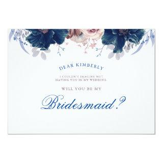 Navy Blue and Mauve - Will You Be My Bridesmaid Invitations