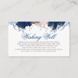 Navy Blue and Mauve Wishing Well Enclosure Card