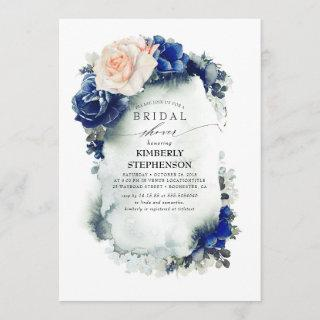 Navy Blue and Peach Floral Bohemian Bridal Shower Invitation