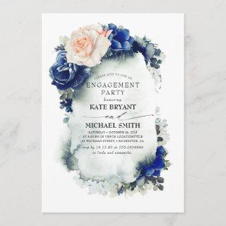 Navy Blue and Peach Floral Modern Engagement Party