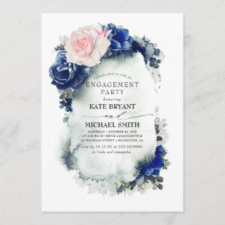 Navy Blue and Pink Floral Modern Engagement Party