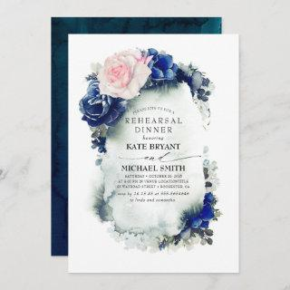 Navy Blue and Pink Floral Modern Rehearsal Dinner Invitation