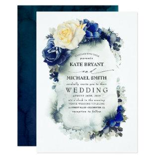 Navy Blue and Primrose Yellow Floral Boho Wedding Invitations