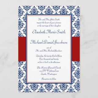 Navy Blue and Red Damask Wedding