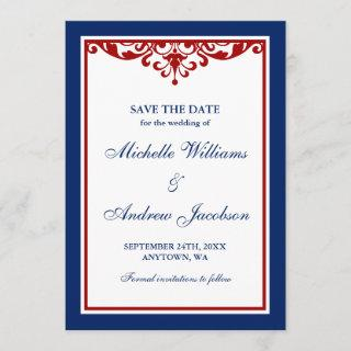Navy Blue and Red Flourish Wedding Save the Date