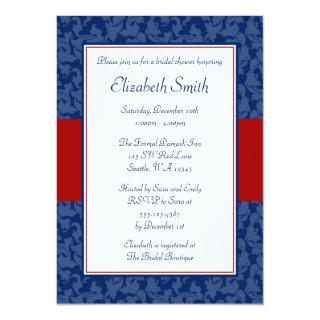 Navy Blue and Red Swirl Damask Bridal Shower Invitations