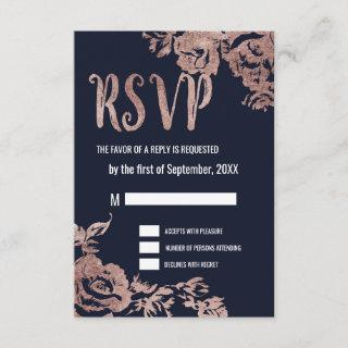 Navy Blue and Rose Gold Floral RSVP Cards