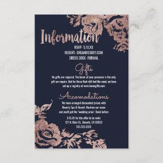 Navy Blue and Rose Gold Floral Wedding Information Enclosure Card