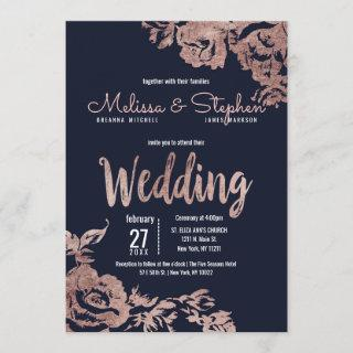 Navy Blue and Rose Gold Floral Wedding Invitation