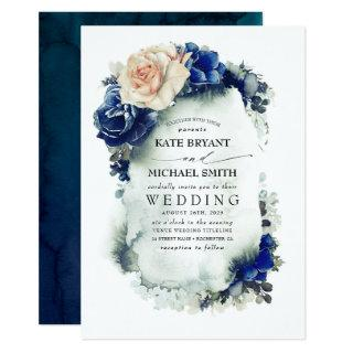 Navy Blue and Rust Copper Floral Boho Wedding Invitations