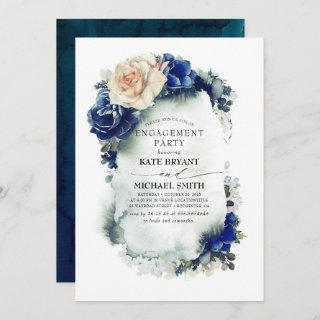 Navy Blue and Rust Floral Modern Engagement Party Invitation