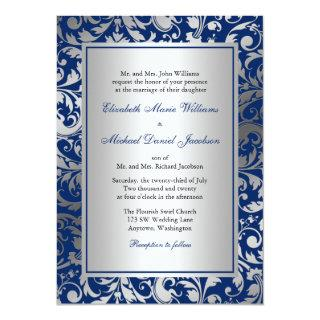Navy Blue and Silver Damask Swirls Wedding Invitations