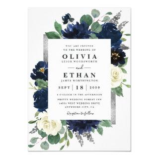 Navy Blue and Silver Elegant Ivory Floral Wedding Invitations