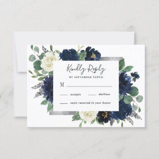 Navy Blue and Silver Elegant Ivory Floral Wedding RSVP Card