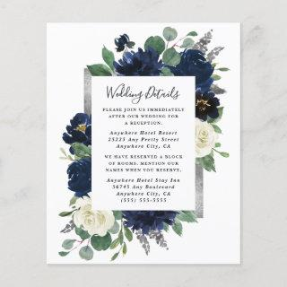 Navy Blue and Silver Ivory Wedding Enclosure Card