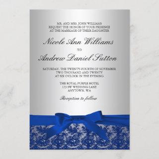 Navy Blue and Silver Lace Wedding Invitations