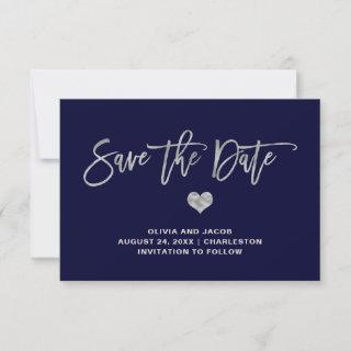 Navy Blue and Silver with Heart Save The Date